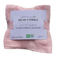 4 Pcs Pack Face Towel 30x30cm Pink