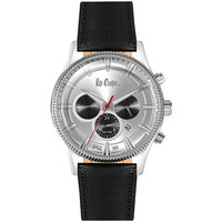 Lee Cooper Men's Watch Multifunction Display Silver Dial Black Leather Strap - LC06244.331