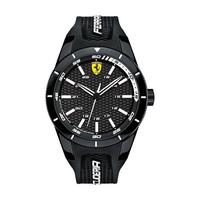 Scuderia Ferrari Men's Watch Red Rev Analog Black Dial Black Rubber Band 44mm Case