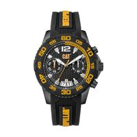 CAT Men's Watch PW Drive Chrono Analog Black Dial Black Silicon Band 45.5mm  Case