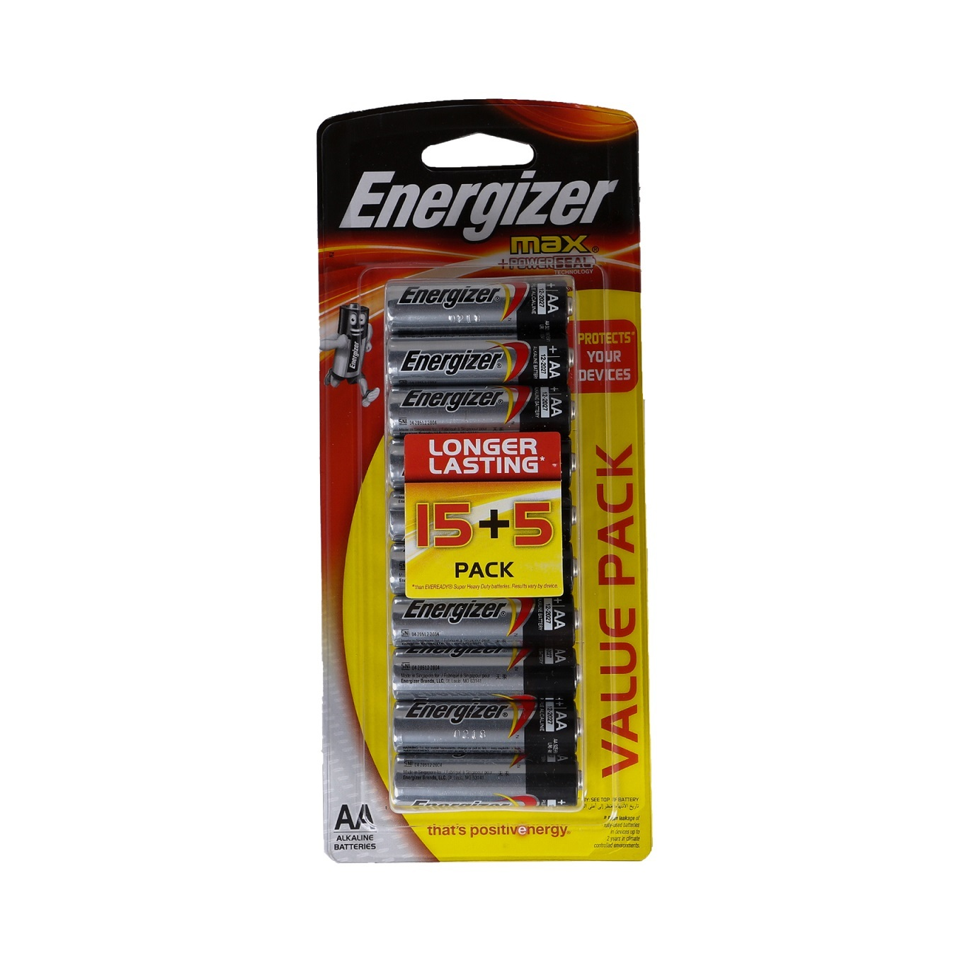 ENERGIZER MAX BATTERY AA 15+5 FREE