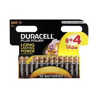 Duracell Plus Power Type AAA  Alkaline Battery 8+4 Free