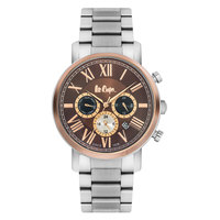 Lee Cooper Men's Multi-Function Silver Case Silver Super Metal Strap Brown Dial -LC06251.540