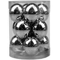 Balls Set Shiny Plain 12Pcs 3Cm Silver