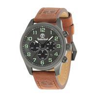 Timberland Men's Watch Carleton Analog Grey Dial Brown Leather Band 44mm Case