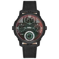 Lee Cooper Men's Analog Black Case Black Leather Strap Black Dial -LC06222.651