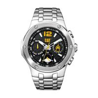 CAT Men's Watch Navigo Multi Analog Black Dial Silver Metal Band 44mm  Case