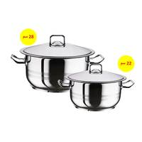Hascevher Steel Pot Set Of 2 Pieces 22Cm+28Cm
