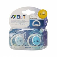 Philips Avent Soothers Night Time 0-6 Months 2 Pieces