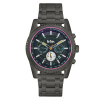 Lee Cooper Men's Multi-Function Black Case Gun Metal Super Metal Strap Grey Dial -LC06190.050