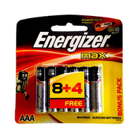 Energizer AAA Alkaline E92 BP12 Batteries 8+4 Free