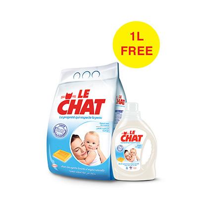 Le-Chat-Powder-Regular-4KG-Eco-+Powder-Gel-1L-Free