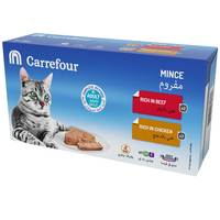 Carrefour Adult Cat Mince Rich in Beef & Rich in Chicken 100gx4