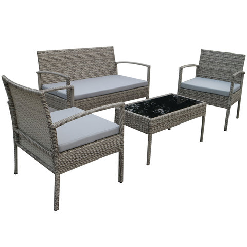 Economic-Wicker-Coffee-Set-With-Cushion-4Pcs-(Delivered-In-7-Business-Days)