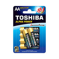 Toshiba Alpha Power Alkaline AA 6 Batteries 4 + 2 Free
