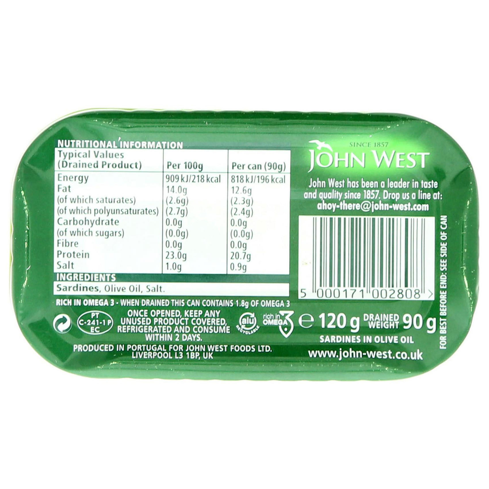 JOHN WEST SARDINES IN OLIVE OIL 120
