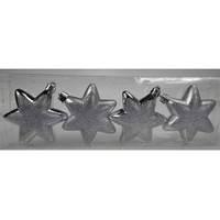 Christmas Deco Set Round Hexagonal Star 4Pcs/7Cm Silver