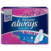 Always Diamond Ultra Thin Sanitary Pads Extra Long 6 Pads