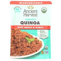 Ancient Harvest Microwaveable Organic Quinoa with Lentils and Garlic 227g