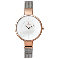 Obaku Women's Watch V149 Analog White Dial Silver Mesh Band 32mm Rose Gold Case