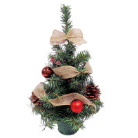 Christmas Mini Tree PVC With Ball Flower Pinecone Decoration-Coffee/Red 45cm