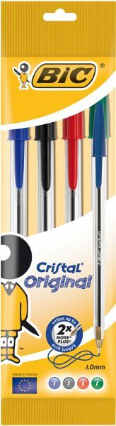 Bic Cristal Ball Pens Assorted Color Pack Of 4 Pieces