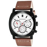 Giordano Men's Watch Multi Function Display Silver White Dial Brown Genuine Leather Strap - 1751-01