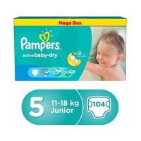 Pampers Active Baby Dry Diapers Mega Box Size 5 104 Pieces
