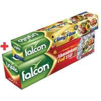 Falcon Aluminum Foil 1.8kg x30cm + Cling Film 200 Sq Ft