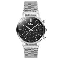 Lee Cooper Men's Multi-Function Silver Case Silver Super Metal Strap Black Dial -LC06305.330