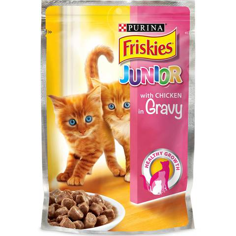 Purina-Friskies-Junior-With-Chicken-In-gravy-Cat-Food-Single-Serve-Pouch-100-g