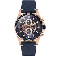 Lee Cooper Men's Multi-Function Rose Gold Case Blue Leather Strap Blue Dial -LC06306.999