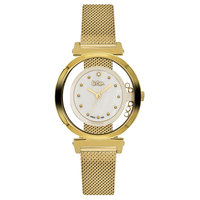 Lee Cooper Women's Analog Gold Case Gold Super Metal Strap White Dial -LC06317.120