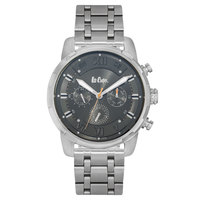 Lee Cooper Men's Multi-Function Silver Case Silver Super Metal Strap Black Dial -LC06192.360
