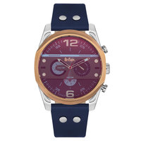 Lee Cooper Men's Multi-Function Silver Case Blue Leather Strap Blue Dial -LC06176.599