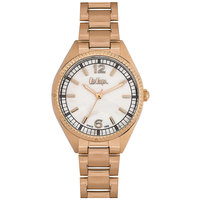 Lee Cooper Women's Analog Rose Gold Case Rose Gold Super Metal Strap Silver Dial -LC06321.420