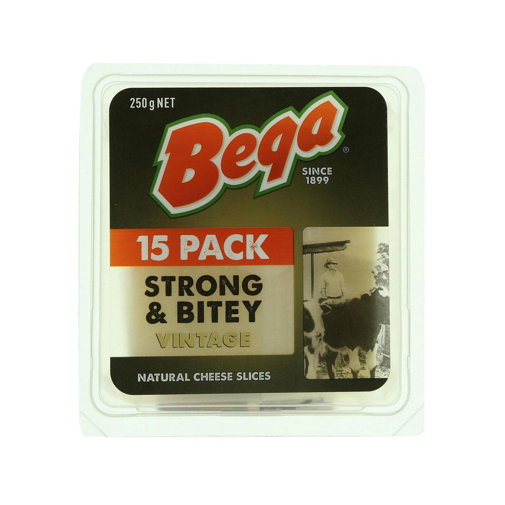 BEGA CHEDDAR SLICE STRG&BITEY 250GR