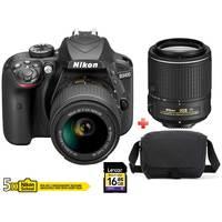 Nikon DSLR Camera D3400 + Lens 18-55 AF-P VR  + Lens 55-200 AF-S VR II + 16GB Card + Case