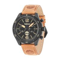 Timberland Men's Watch Gloucester Analog Black Dial Brown Leather Band 46mm Case