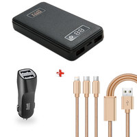 Xcell Power Bank 8000mAh + Car Charger + 3 in 1 Cable
