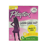 Playtex Regular & Super Gentle Glide 360° Tampons 18 Pieces