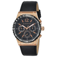 Giordano Men's Watch Multi Function Display Black Dial Black Genuine Leather Strap - 1757-03
