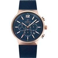 Obaku Men's Watch V180 Analog Blue Dial Blue Mesh Band 42mm Rose Gold Case