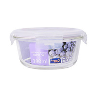 Lock & Lock Boroseal Glass Round Food Container HCLLG821 380ML