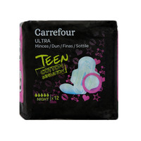 Carrefour Ultra Slim Towels Teen Cotton Sensation Night x12