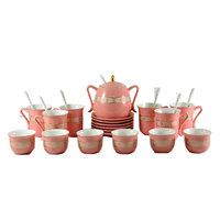 Porcelain Tea And Coffee Set Gold & Peach 26Pcs