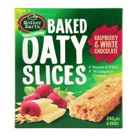 Mother Earth Baked Oaty Slices Raspberry & White Chocolate 240g