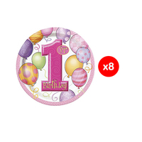 Plate First Birthday Pink 17.7CM 8 Pieces
