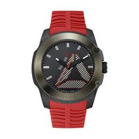 Reebok Men's Watch Tireflip Analog Black Dial Red Silicon Band 47mm  Case
