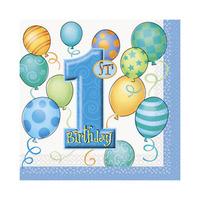 Napkin First Birthday Blue 16 Sheets